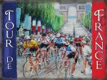 "10226 - 12"" x 16"" Tour de France Flag Champs Elysees Metal Steel Sign Plaque"